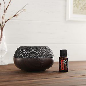 doTERRA Brevi Walnut Diffuser with Harvest Spice on a brown wooden side table.