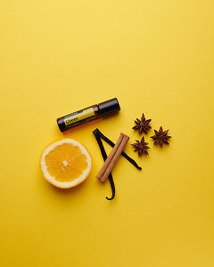 doTERRA Cheer Touch with a vanilla bean, orange slice, cinnamon stick and star anise on a yellow card stock background.