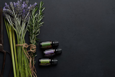 doTERRA Rosemary, Lavender and Lemongrass  with lavender stems, rosemary flowers, lemongrass stalks and rustic scissors on a black concrete background.