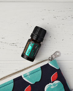 doTERRA Align and an essential oil bag in close up on a white wooden background.