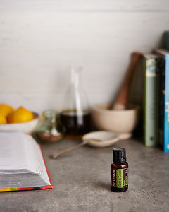 doTERRA Celery Seed with kitchen equipment on a gray stone kitchen bench.