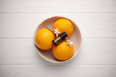 doTERRA Cheer in a white ceramic bowl with seville oranges and orange blossoms on a white wooden background.