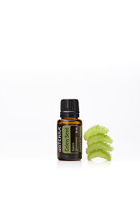 doTERRA Celery Seed with celery on a white background with reflection.