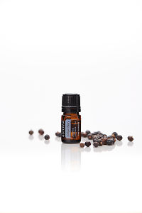 doTERRA Juniper Berry with juniper berries on a white background with reflection.