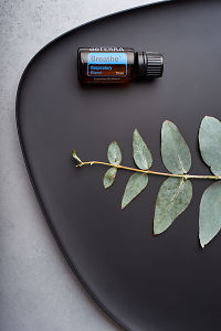 doTERRA Breathe and eucalyptus leaves on black melamine plate with white concrete background.