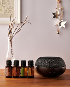 doTERRA Brevi Walnut diffuser with Cedarwood, Frankincense, Rosemary and Wild Orange essential oils and holiday decorations on a side table.